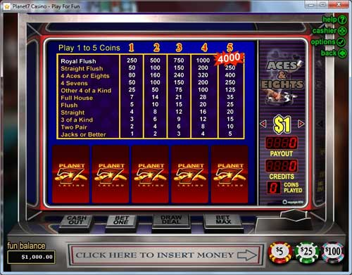 Planet 7 Casino Video Poker