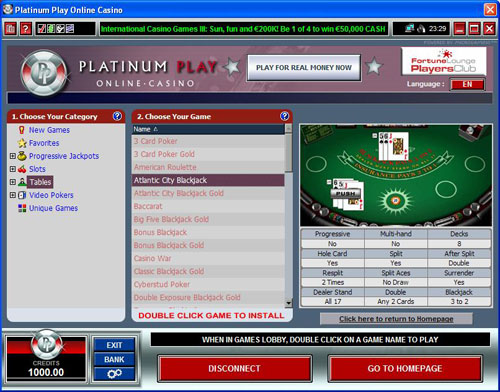 Platinum casino download
