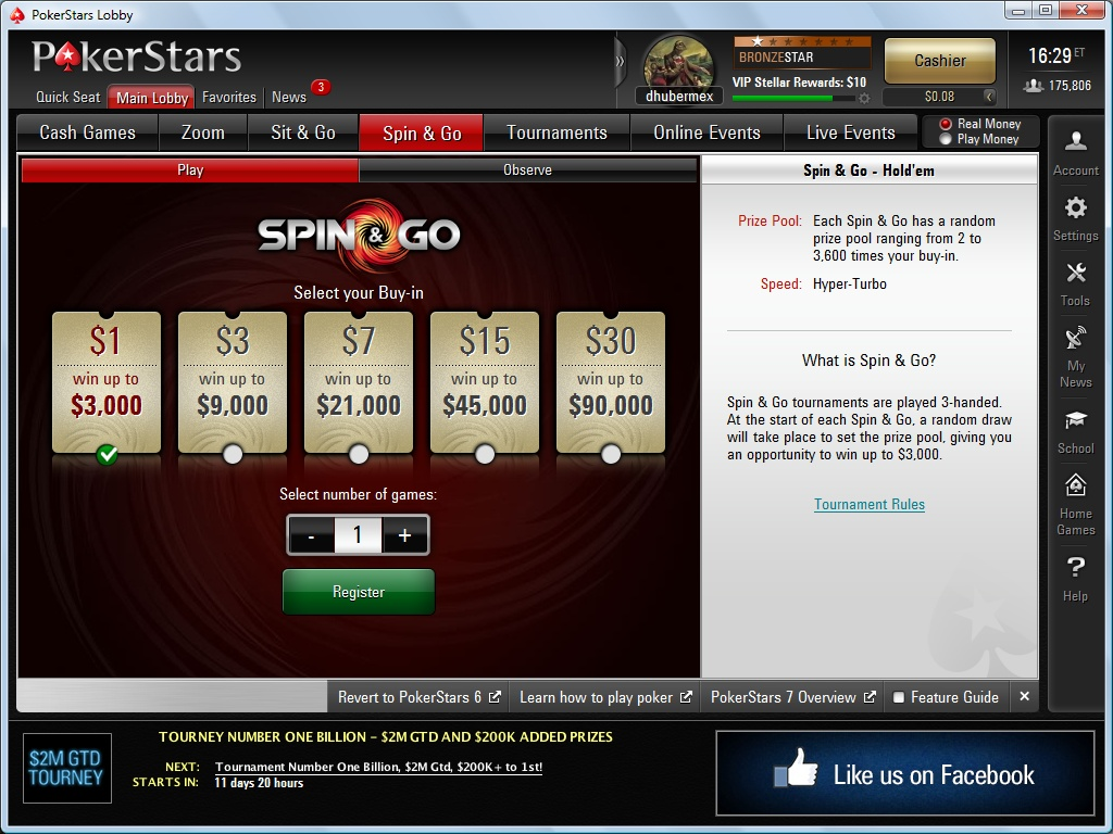 PokerStars Spin-and-Go