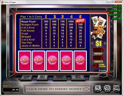 Slots of Vegas Video Poker