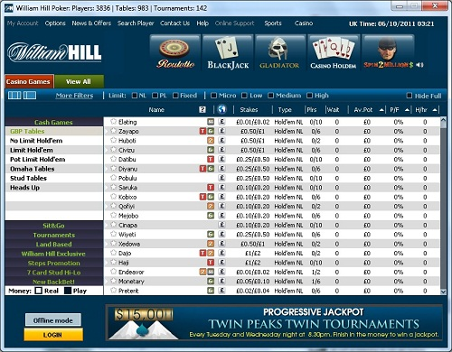 William Hill Poker Лобби