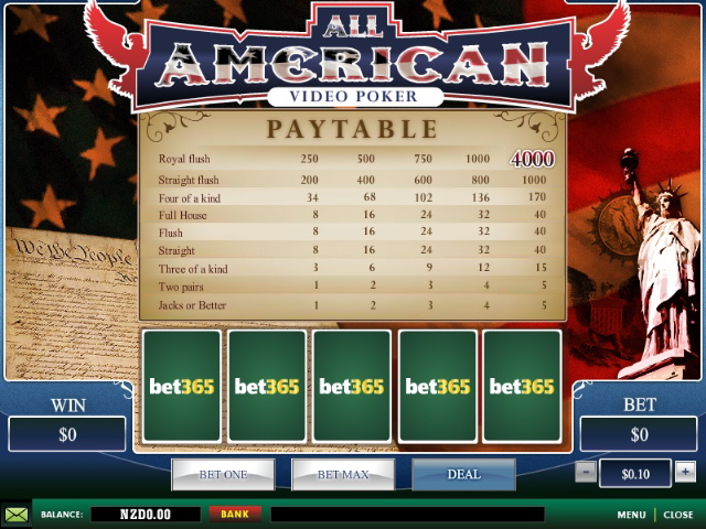 bet365 Casino Video Poker