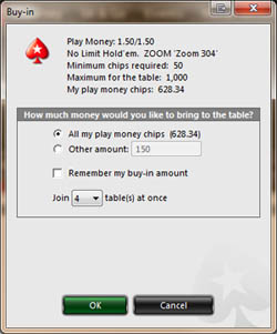 PokerStars Zoom Poker Buy-in