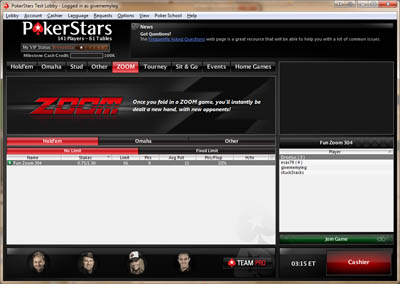 PokerStars Zoom Poker Lobby