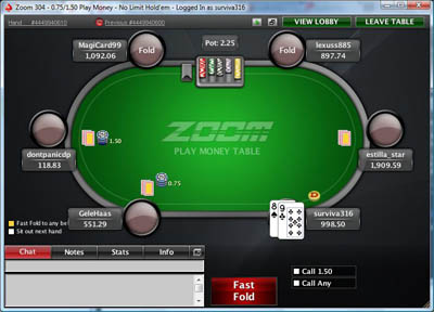 PokerStars Zoom Poker Table