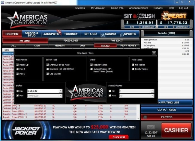 Lobby Filters at Americas Cardroom