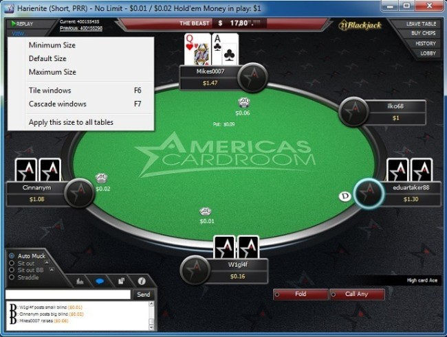 Poker Table at Americas Cardroom With View Menu Shown