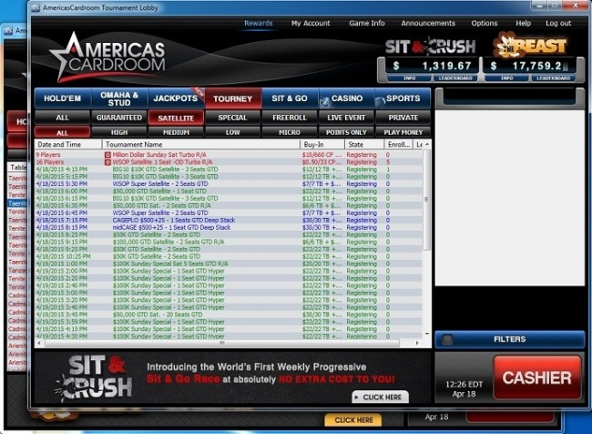 Americas Cardroom's Tournament Lobby