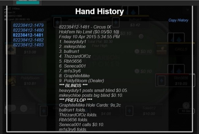 Carbon's Mobile Hand History Viewer