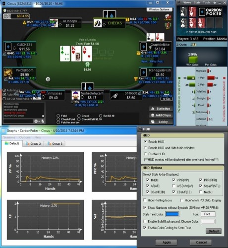 Carbon Poker Odds Calculator with HUD, HUD Options, and Graphs Active