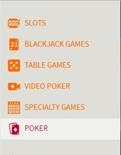 Select Poker From the Ignition Menu
