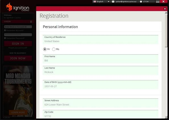 Ignition Poker Registration Form