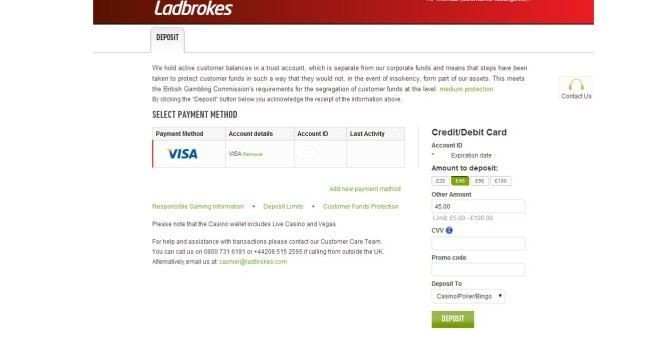 Second Page of the Deposit Process at Ladbrokes