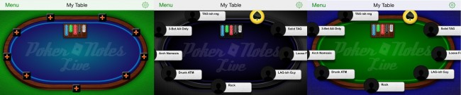 Poker Notes Live: Table Themes