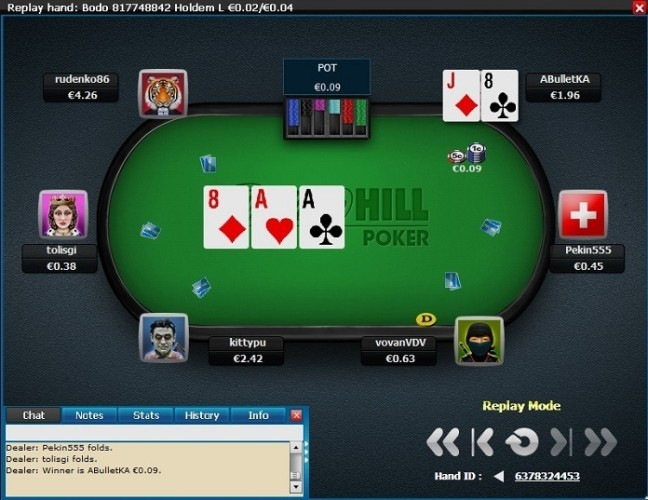 Hand Replayer at William Hill Poker