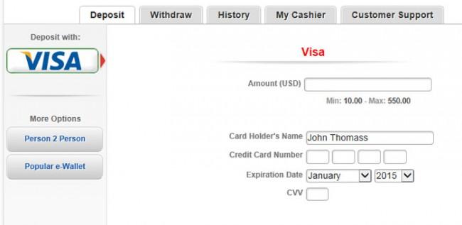 Americas Cardroom Visa Deposit