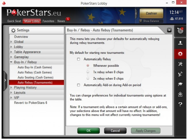 Auto Rebuy Tournaments