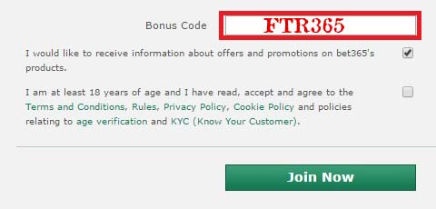Entering the Bet365 Bonus Code When Making an Account