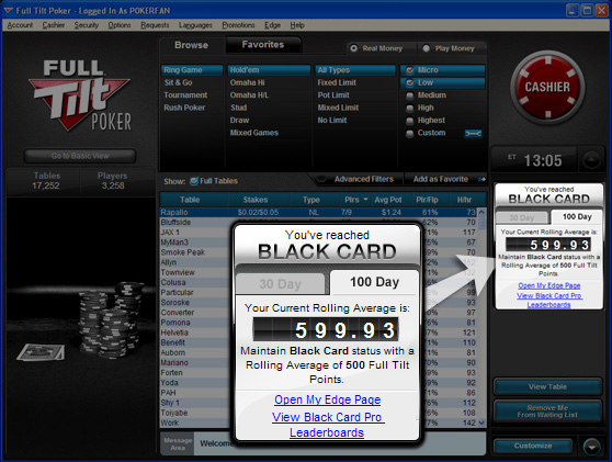 Full Tilt Poker Edge Status