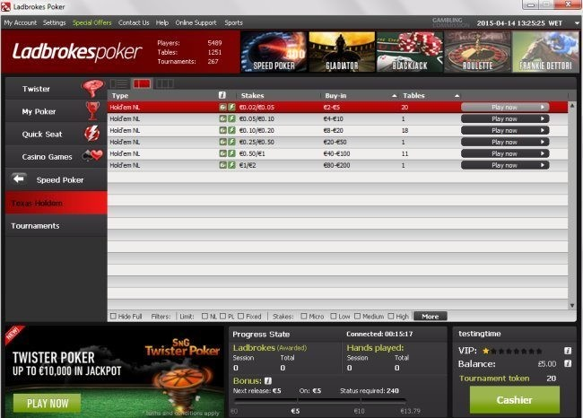 Ladbrokes Speed Poker Pools