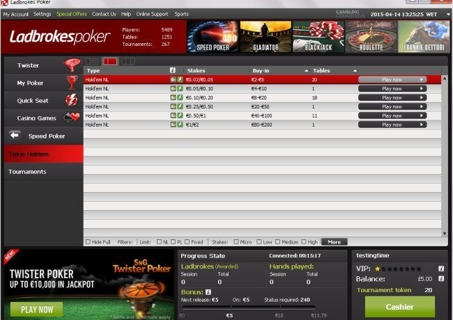 Speed Poker Games at Ladbrokes
