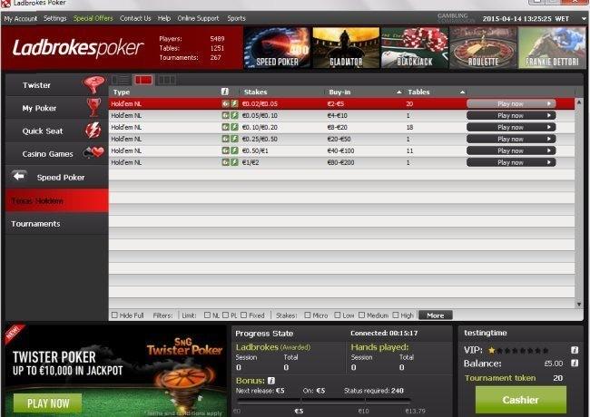 Speed Poker Games at Ladbrokes