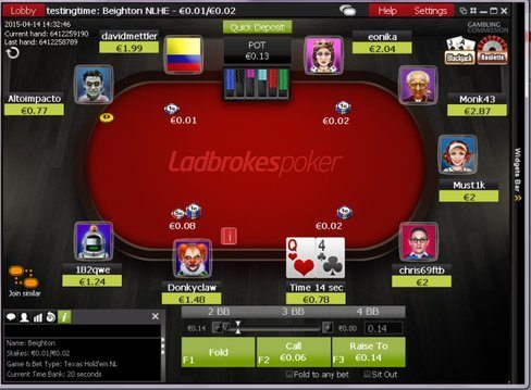 Ladbrokes Poker Table With Action Buttons
