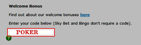 Entering the Sky Poker Promo Code