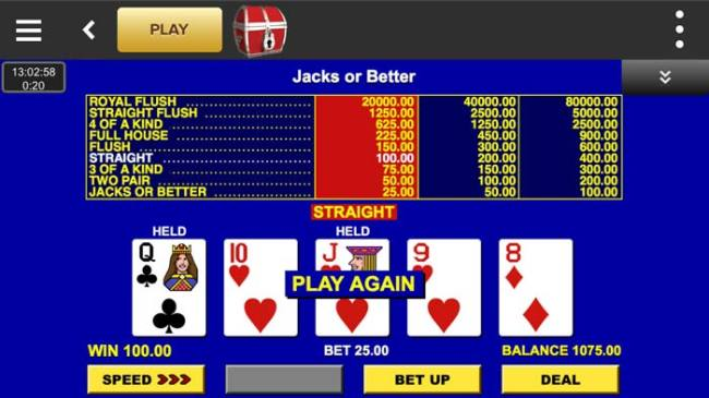 Virgin Casino Mobile Video Poker