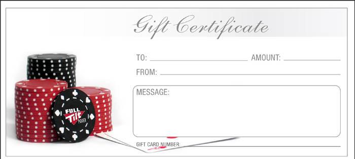 Full Tilt Gift Certificate Sample
