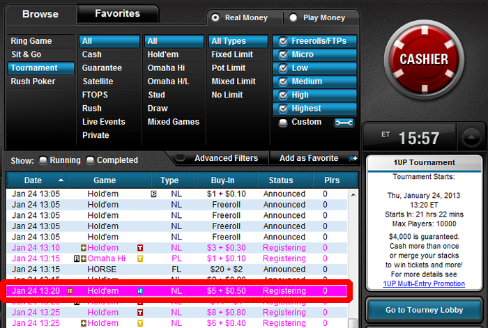 Full Tilt Poker 1UP in Lobby