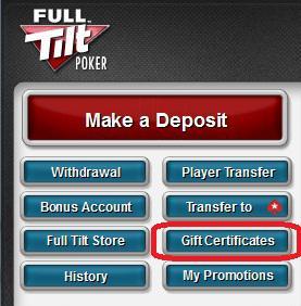 Full Tilt Poker Gift Certificates