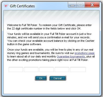 Redeeming Your Full Tilt Gift Certs
