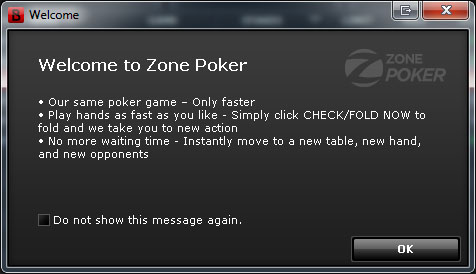Bovada.lv Zone Poker: Welcome Message