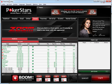 Zoom Poker Lobby