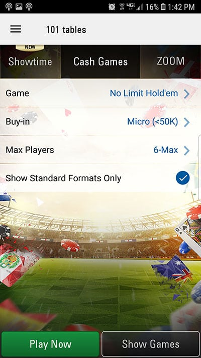 PokerStars Mobile Cash Games