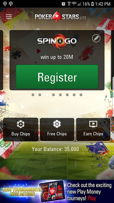 PokerStars Mobile Lobby
